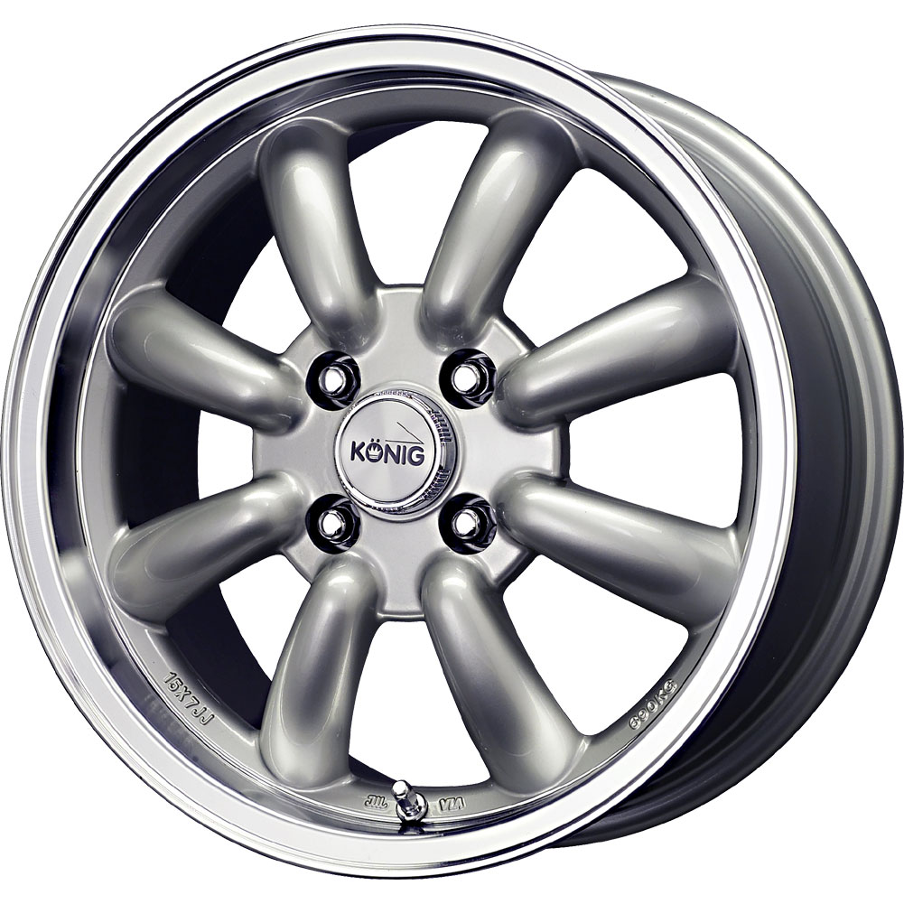 2 new 15x7 0 offset 4x114 3 konig rewind silver wheels rims 15 inch ebay. Black Bedroom Furniture Sets. Home Design Ideas